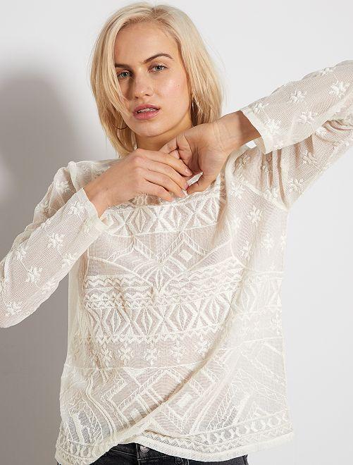T-shirt en macramé                                 blanc cassé