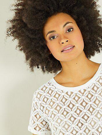 Femme du 34 au 48 - T-shirt en macramé - Kiabi