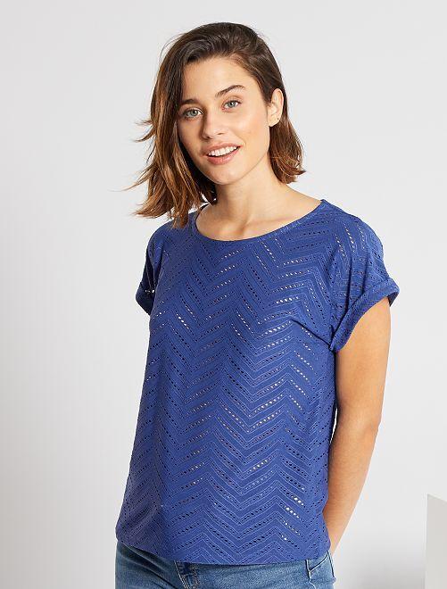 T-shirt en maille ajourée                                                                                         bleu cobalt