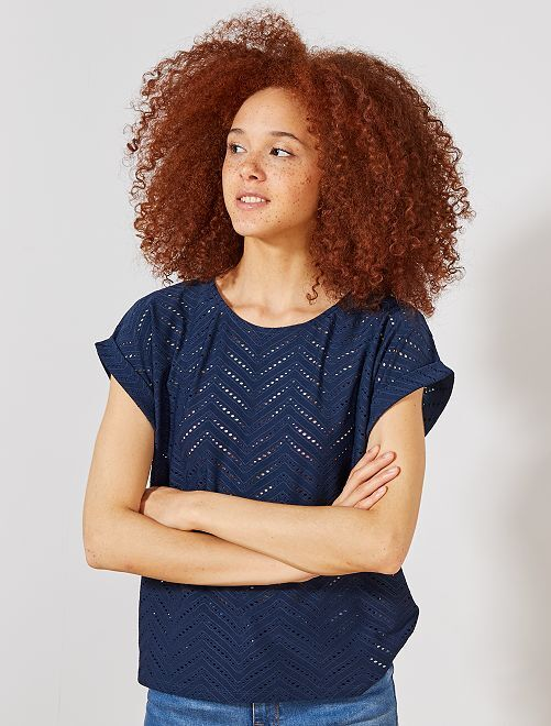 T-shirt en maille ajourée fantaisie                                                                 bleu marine Femme