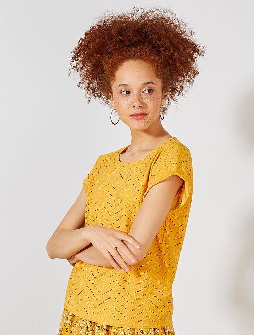 T-shirt en maille ajourée fantaisie                                                                 jaune