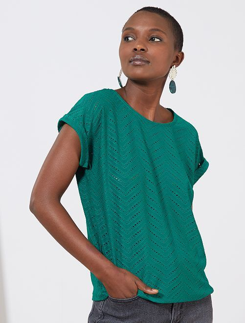 T-shirt en maille ajourée fantaisie                                                                 vert Femme