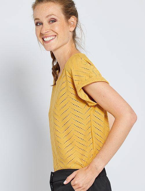 T-shirt en maille ajourée                                                                 jaune