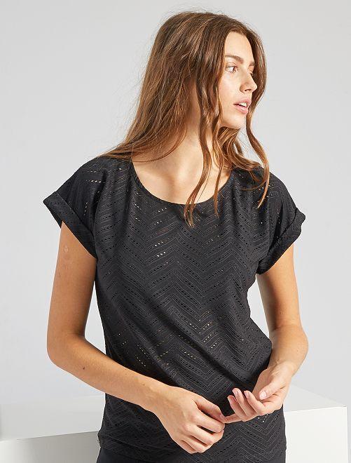T-shirt en maille ajourée                                                                                         noir