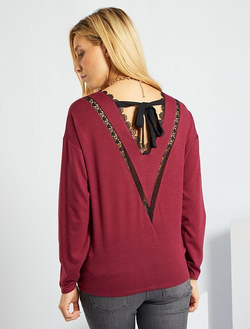 T-shirt en maille chaude dos dentelle                                                                 rouge rhododendron