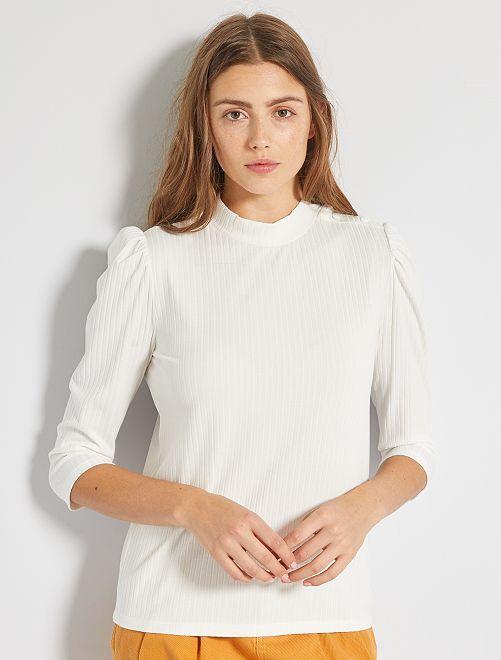T-shirt en maille côtelé                                         blanc