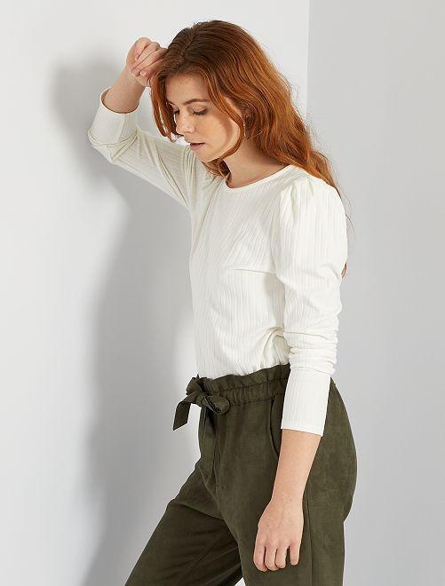 T-shirt en maille côtelée                                                                 blanc