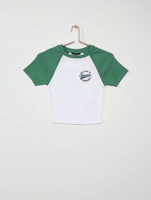 T-shirt en maille côtelée                             blanc/vert