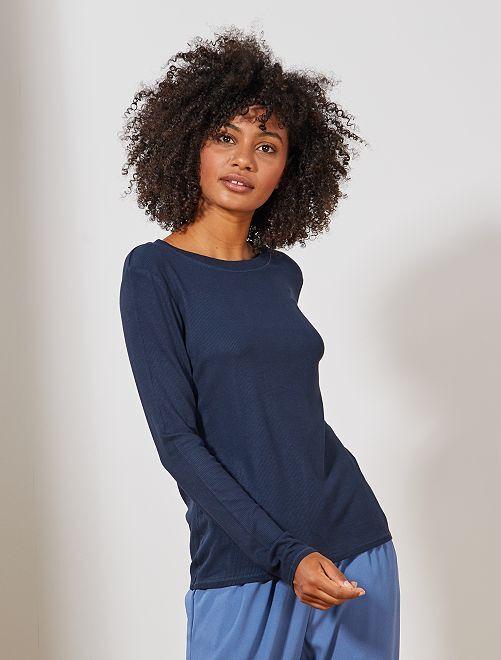 T-shirt en maille côtelée                                                                 bleu marine Femme