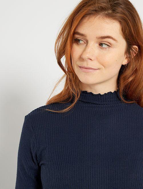 T-shirt en maille côtelée                                         bleu marine