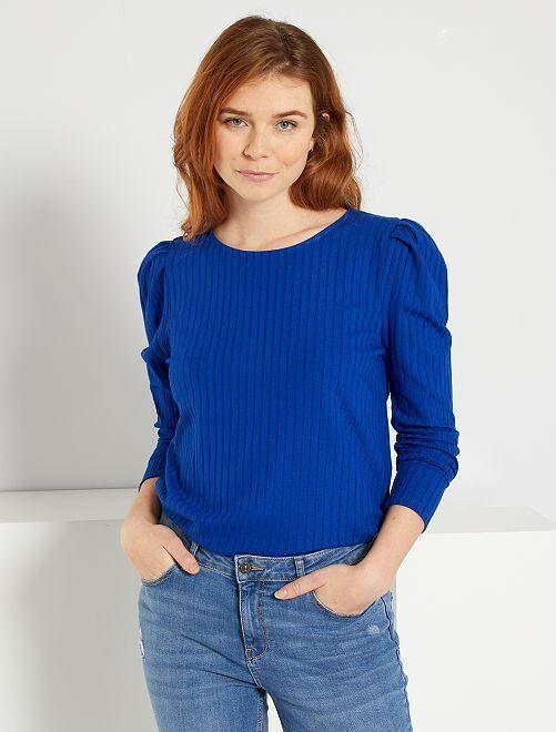 T-shirt en maille côtelée                                                                 bleu océan