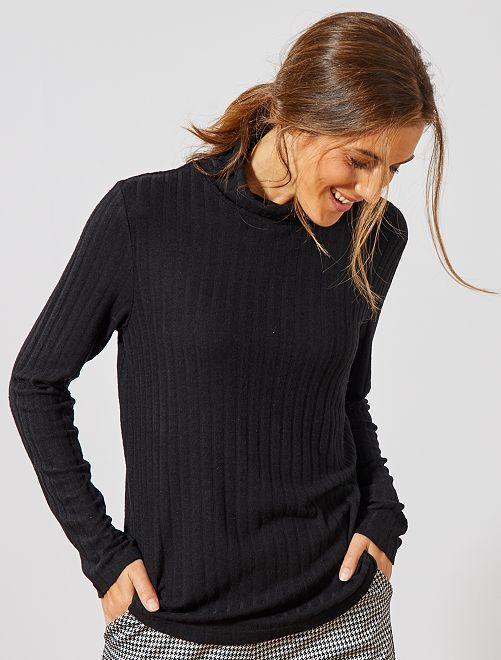 T-shirt en maille côtelée douce                                                     noir