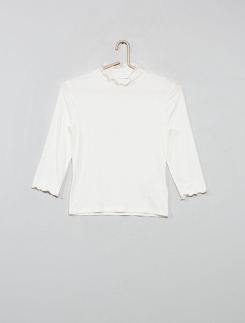 T-shirt en maille côtelée                                         écru