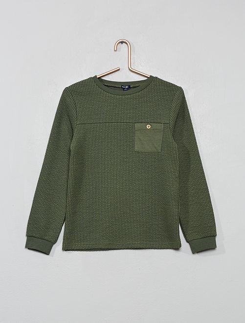 T-shirt en maille côtelée floquée                             vert thym