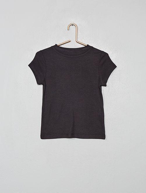 T-shirt en maille côtelée                                                                 gris foncé