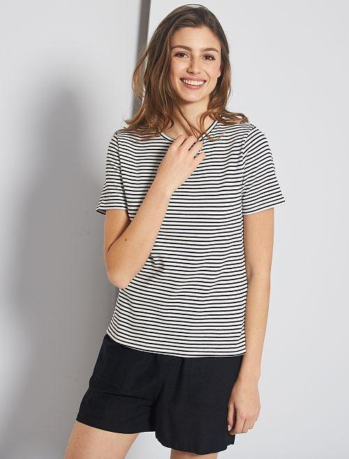 T-shirt en maille côtelée                                                                 rayé noir