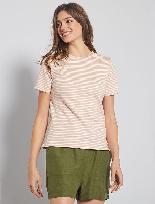 T-shirt en maille côtelée                                                                             rayé rose