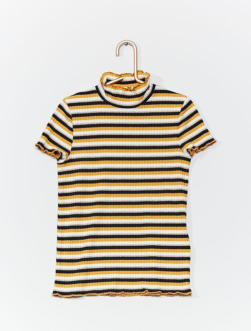 T-shirt en maille côtelée rayée                                         rayé
