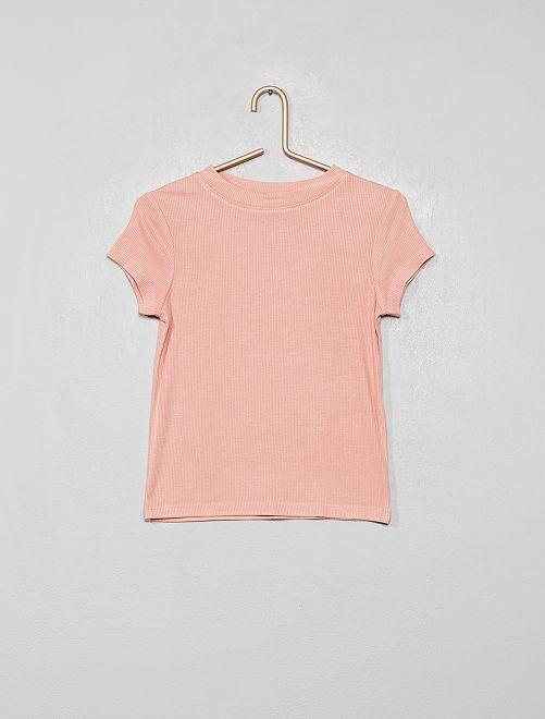 T-shirt en maille côtelée                                                                 rose