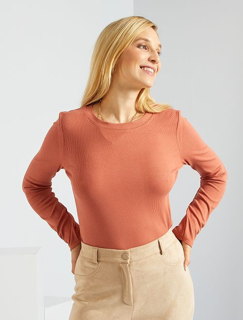 T-shirt en maille côtelée stretch                                                                             rouille