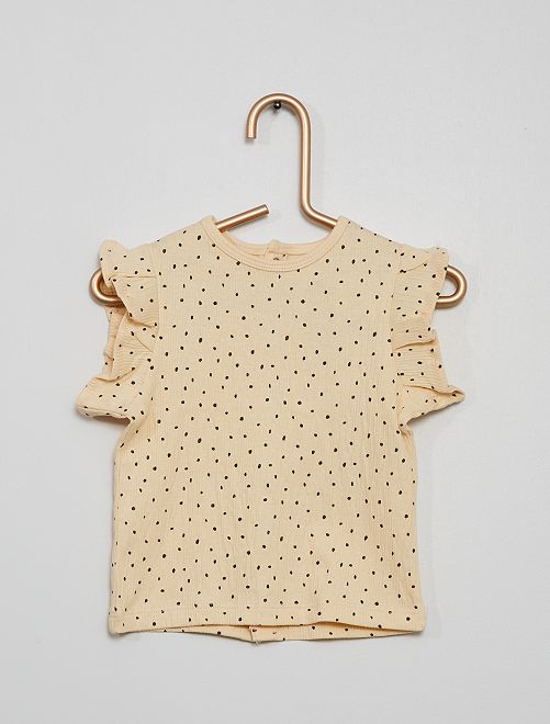 T-shirt en maille crêpée à pois                             beige