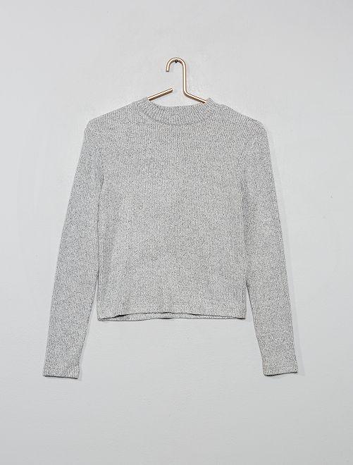 T-shirt en maille doudou côtelée                                         gris chiné