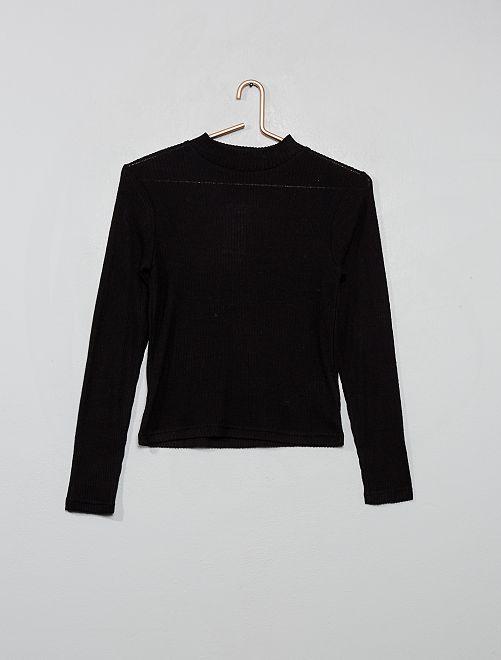 T-shirt en maille doudou côtelée                                         noir