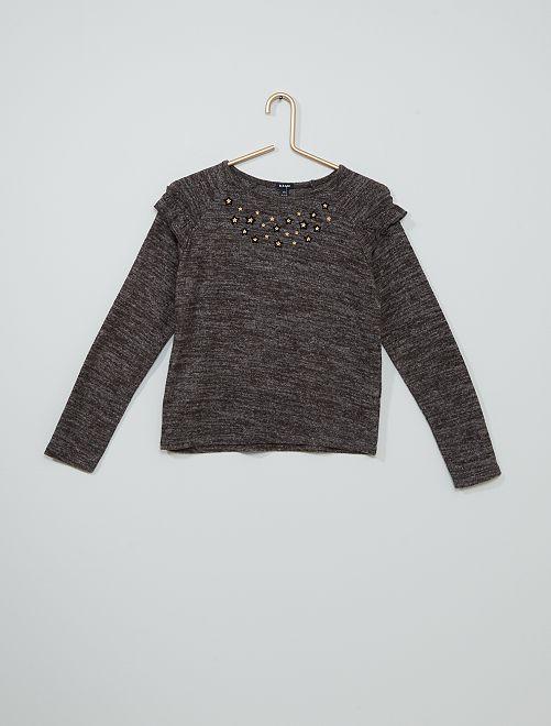 T-shirt en maille doudou                                         gris chiné