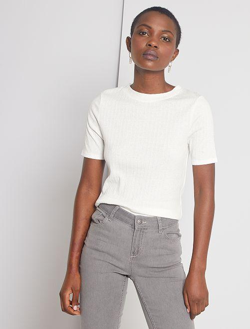 T-shirt en maille fantaise                                                                 blanc cassé
