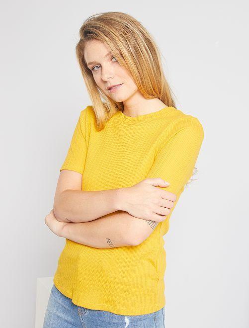T-shirt en maille fantaise                                                     jaune