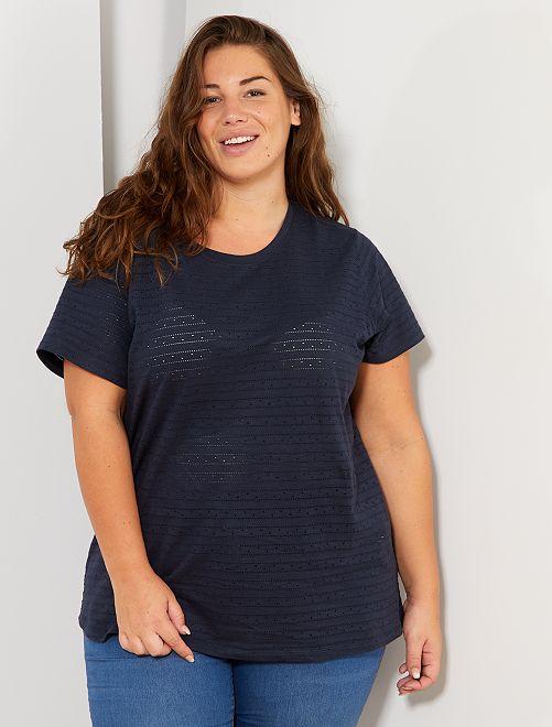 T-shirt en maille fantaisie ajourée                                                                 bleu marine