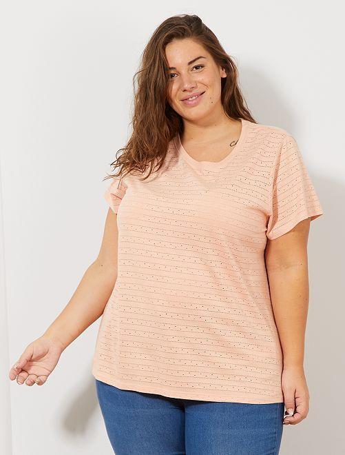 T-shirt en maille fantaisie ajourée                                                                 rose