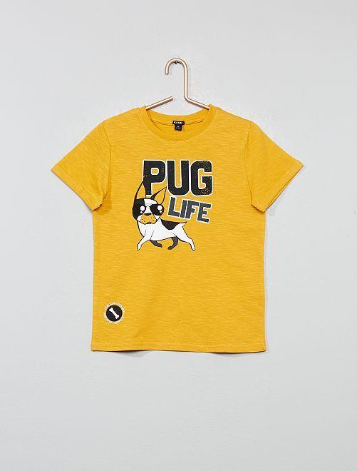 T-shirt en maille flammée imprimé                             jaune