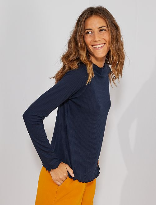 T-shirt en maille fluide côtelée                                         bleu marine Femme
