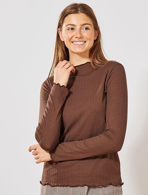 T-shirt en maille fluide côtelée                                         marron