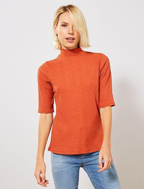 T-shirt en maille fluide côtelée                     orange
