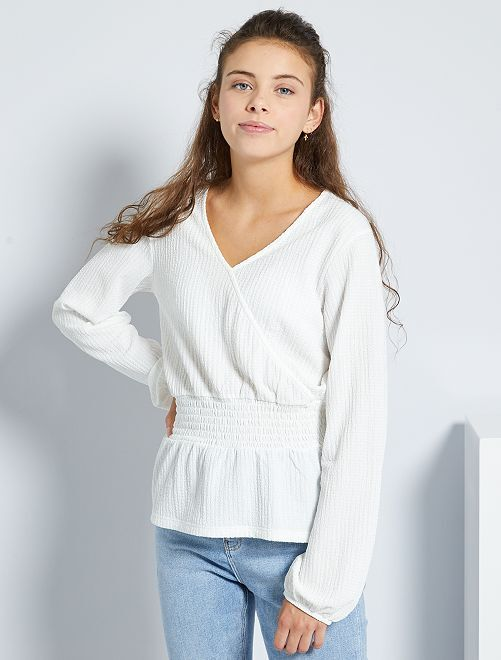 T-shirt en maille gaufrée                             blanc