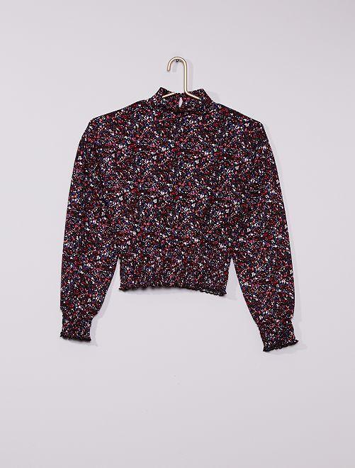 T-shirt en maille gaufrée imprimée 'fleurs'                             noir/rose