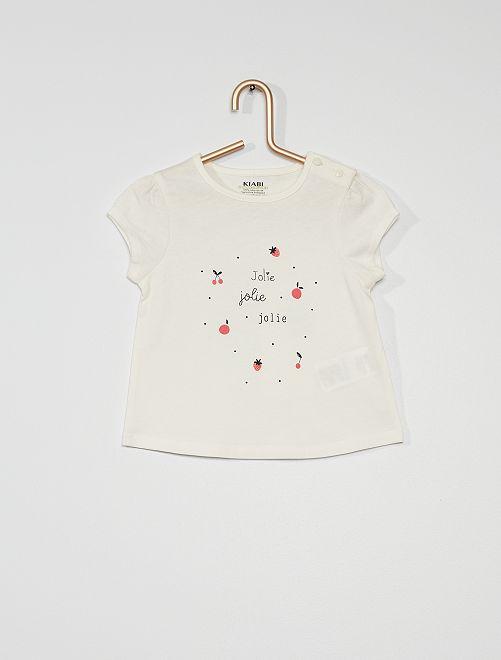 T-shirt en maille jersey                                                                                                     blanc