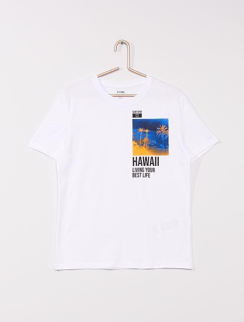 T-shirt en maille jersey imprimé                                                                 BLANC