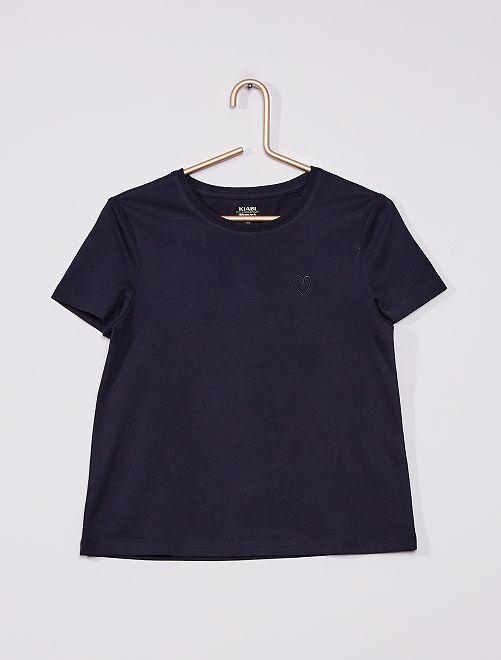 T-shirt en maille jersey uni                                                                             bleu
