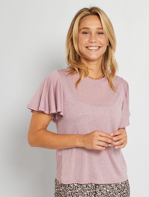 T-shirt en maille made in France                                                     vieux rose