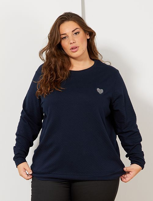T-shirt en maille plumetis cœur brodé                                 bleu marine
