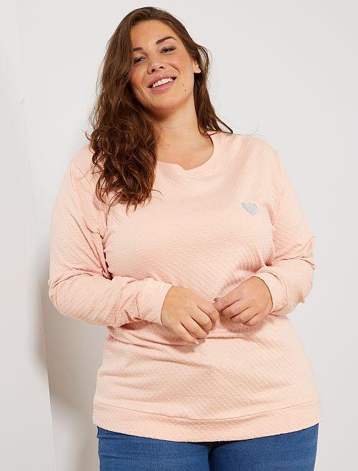 T-shirt en maille plumetis cœur brodé                                                                 rose