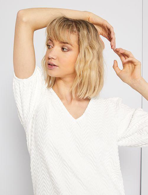 T-shirt en maille reliefée                             blanc