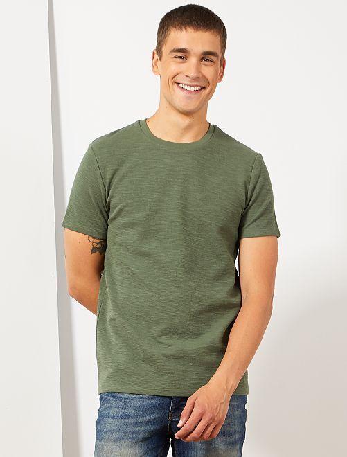 T-shirt en maille texturée                                         vert Homme