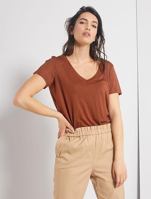 T-shirt en modal                                         brun