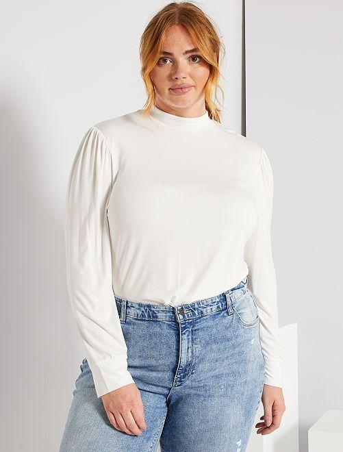 T-shirt en modal manches bouffantes                                         blanc
