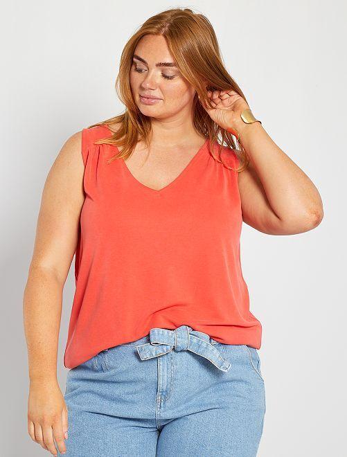 T-shirt en modal                                                                                                                                                     rouge orangé