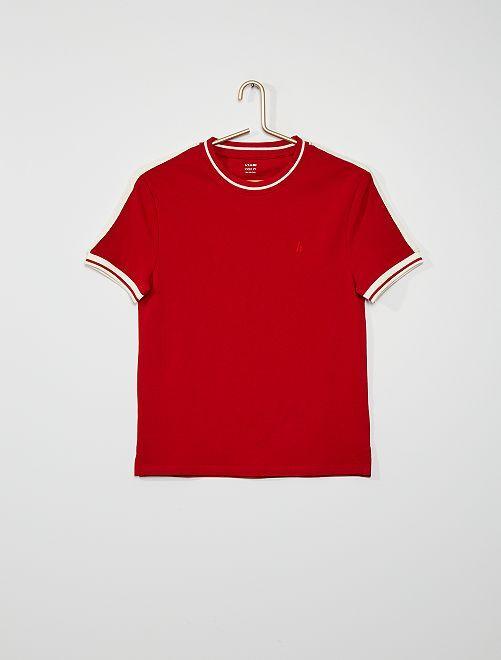 T-shirt en piqué de coton                             rouge
